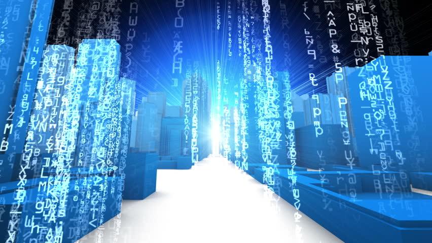 City Skyline Computer Data Code Fly Through Loop