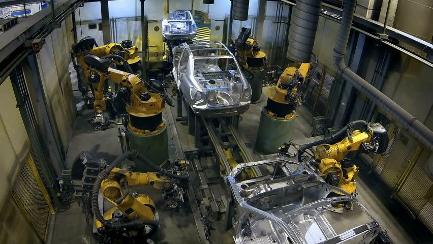 robots welded the car body 4K loop timelapse