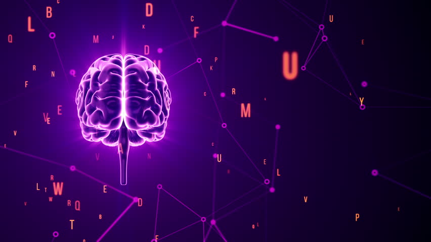 Animation of rotation human brain with flying data around. Animation of seamless loop. | Shutterstock HD Video #17393401