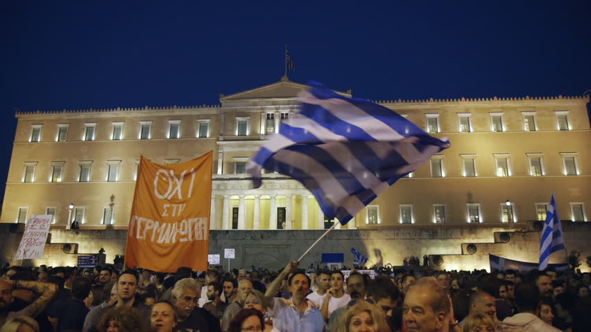 Editorial:June 25 2015 Greece rally/protest,Athens Parliament,referendum,grexit 2015.People demonstrate against austerity and the European referendum/memorandum imposed by troika/institutions