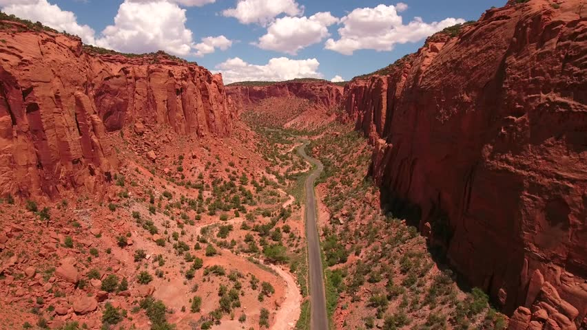 Amazing aerial shot over beautiful desert redrock canyon in southern Utah at the Burr trail near Boulder Utah and Capitol Reef   Shutterstock HD Video #17458621