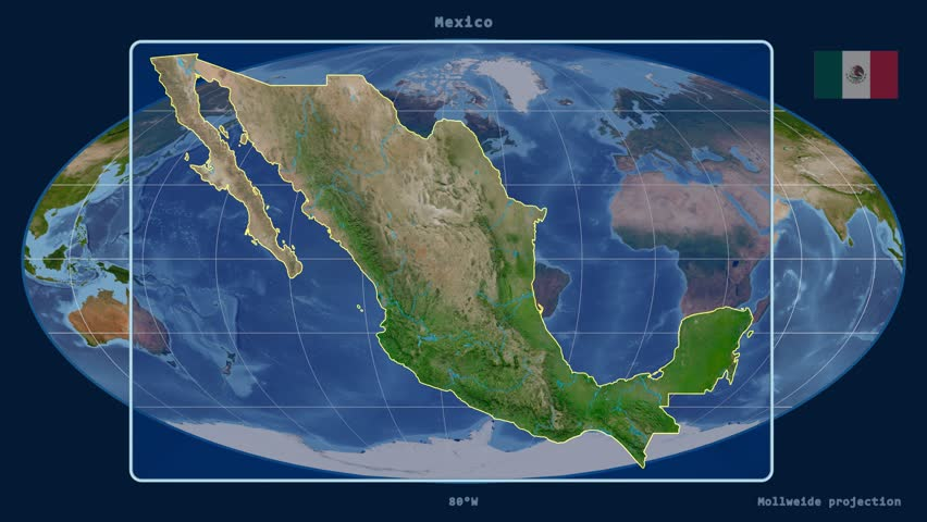 Zoomedin View Of A Mexico Outline With Perspective Lines Against - Satellite mexico map