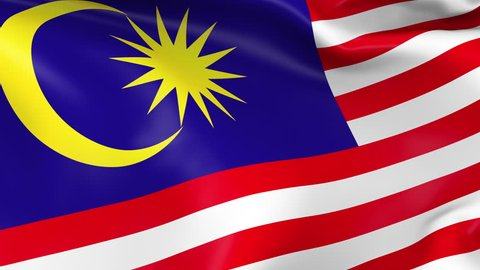 Photo realistic slow motion 4KHD flag of the Malaysia waving in the wind. Seamless loop animation with highly detailed fabric texture in 4K resolution.