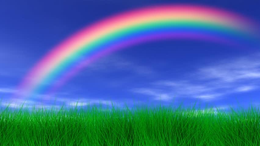 Rainbow, Grass and Peaceful Sky