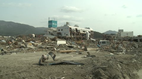 RIKUZENTAKATA, JAPAN - APRIL 1: Tsunami aftermath and destruction to buildings in Rikuzentakata on April 1, 2011.