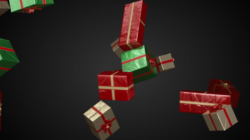 Different gift boxes falling down. Holiday gift boxes decorated with red ribbon.