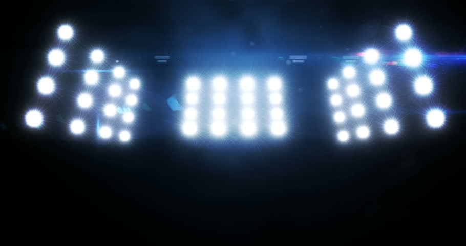 Blue Wall Of Lights Stage Sports Stadium Background Stock: Stage, Concert Or Stadium Lights Flashing. Cold Colors