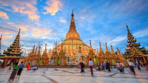4K. Time lapse view Sunrise of Shwedagon Pagoda Yangon Landmark  of Myanmar