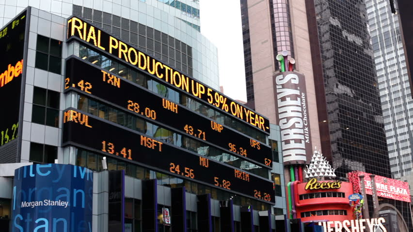 NEW YORK CITY, NY - NOVEMBER 23: Stock market news on building in Times Square the day before Thanksgiving on November 23, 2011 in New York City, New York.