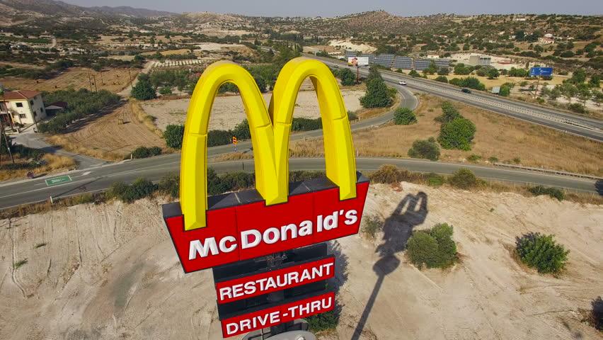 CYPRUS - JUNE 2016 - McDonalds sign near highway