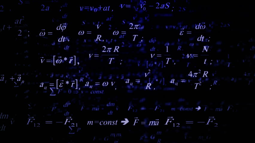 Physics formulas flying. Parallax. Good for sciense titles and background, news headline business intro screensaver and opener. School education presentation, diploma project. Science formulas. | Shutterstock HD Video #17717020