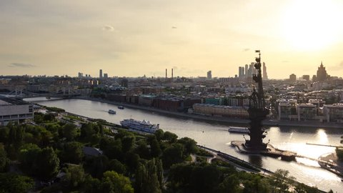 Russia, Moscow, 11 June - 2016: You can see main park in Moscow Muzeon near Kremlin. There is Peter the Great monument on the island in Moskva river.