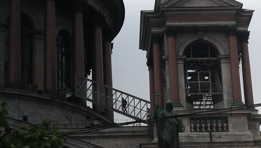 Russia, Saint Petersburg, 16 june, 2016, Stairs to the colonnade of St. Isaac's Cathedral.