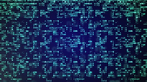 Animation of Abstract Blue Technology Background. Binary Computer Code. Programming / Coding / Hacker concept.