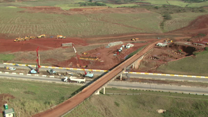 Aerial of bridge under construction