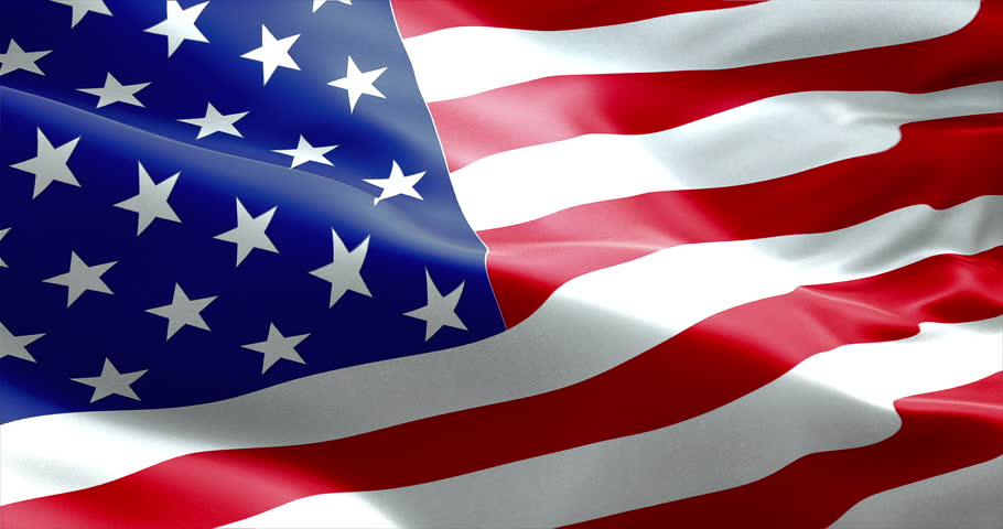 American Usa Waving Flag United Stock Footage Video 100