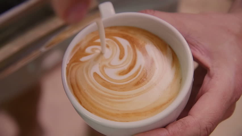Making of cafe latte art, heart shape | Shutterstock HD Video #17843476