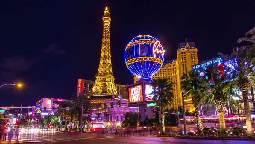 Night Twilight Las Vegas Famous Paris Casino Hotel Strip Panorama