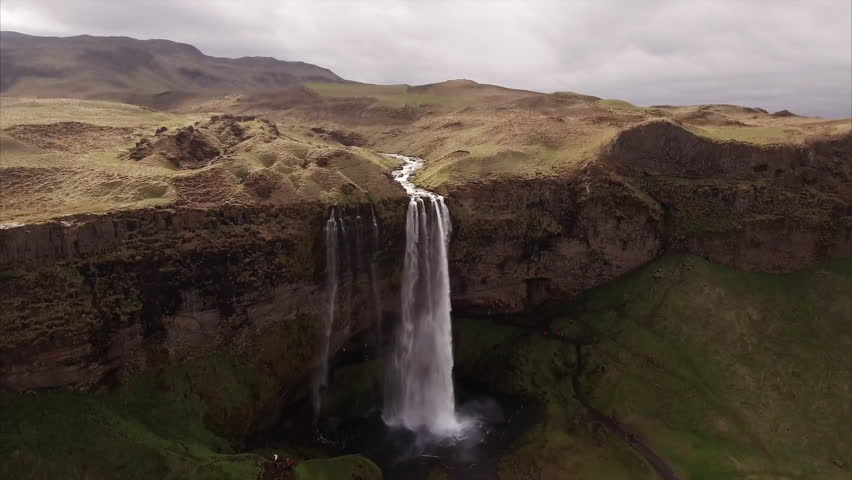 Flying Towards Waterfall