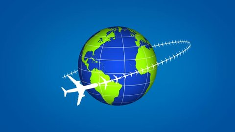 plane travel on earth motion graphics