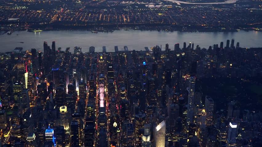 New York City, Billionaire Row (57th St area) dusk (8;30) 2016, clean photo plane, no plastic windows.