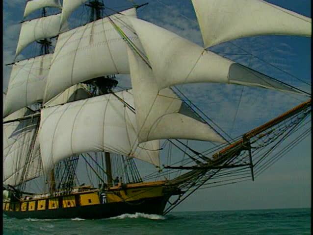Tall ship at full sail