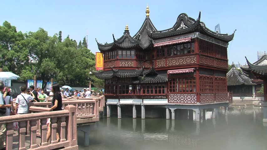 SHANGHAI   CIRCA AUGUST, 2011: Building Surrounded By Water.   HD Stock  Footage