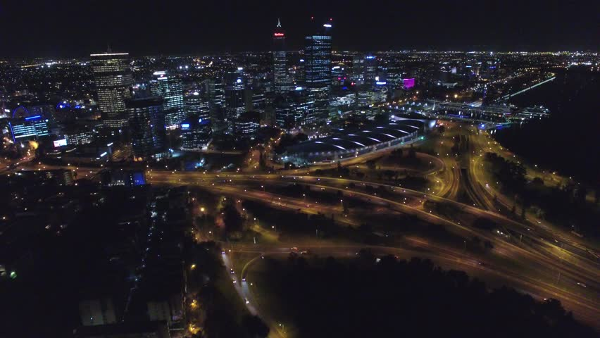 Aerial view of Kings Park at night-time, Perth, Western Australia