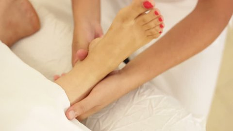 Shot of Top view of foot massage