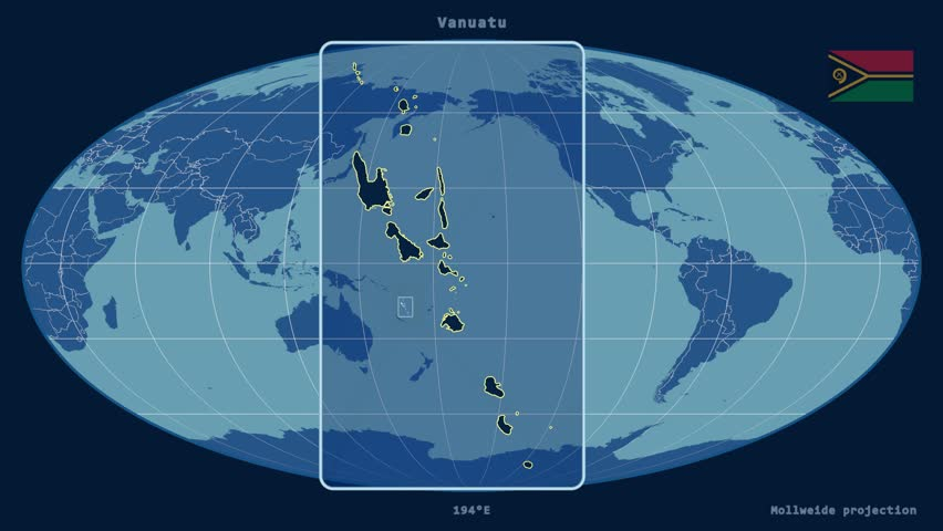 Hammer world map projection example of land distortion due to the zoomed in view of a vanuatu outline with perspective lines against a global admin map gumiabroncs Image collections