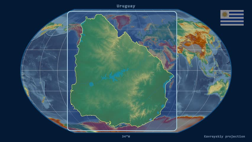 Uruguay Shape Animated On The Physical Map Of The Globe Stock - Uruguay relief map