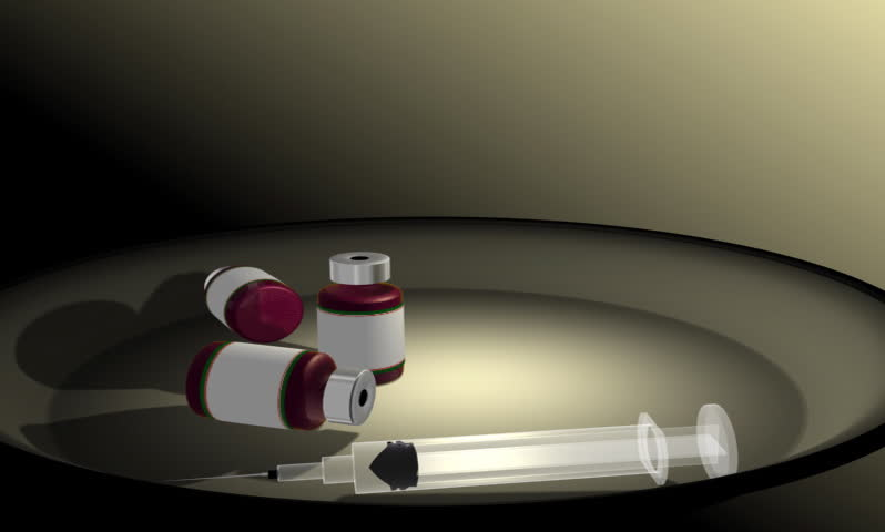 . Footage of a  syringe taking medicine from a medicine bottle