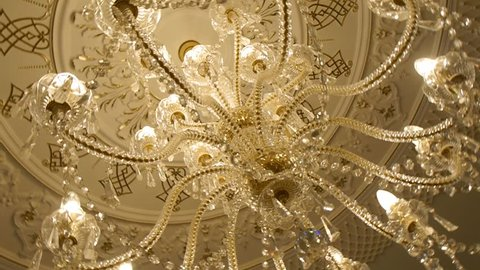 elegant chandelier on the ceiling in a luxury restaurant