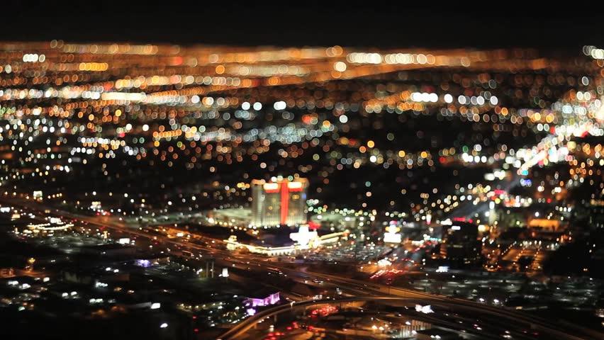 Las Vegas Night birds view 2 Tilt Shift Timelapse