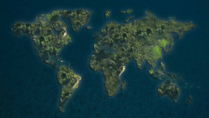 Global world map animation separate to day and night stock islands of the world mapgreen ocean hd stock video clip gumiabroncs Choice Image