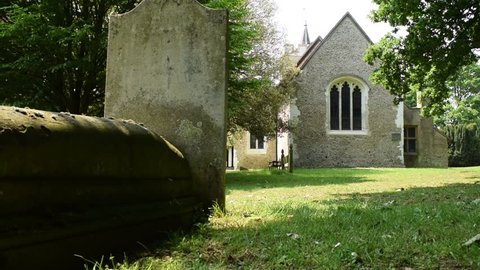 Ancient Church of Tewin, Hertfordshire, England, Shady and Quiet Churchyard, Reveal Effect