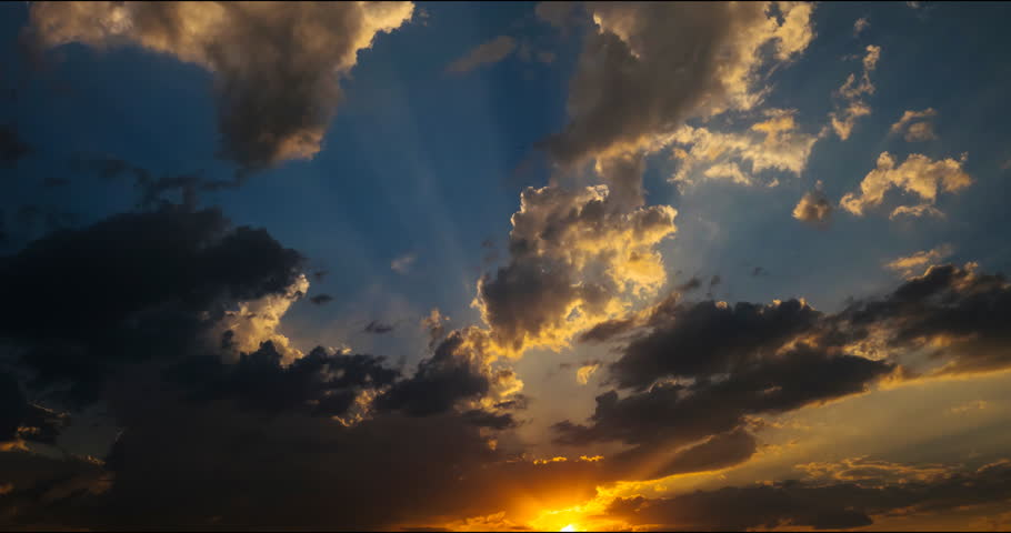 Flying clouds at sunset - videography different states and configurations sky flying clouds on it in high resolution 4K timelapse | Shutterstock HD Video #18093061