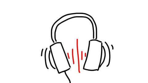 Headphone icon. Hand drawn earphones with red sound wave beats. Cartoon animation.