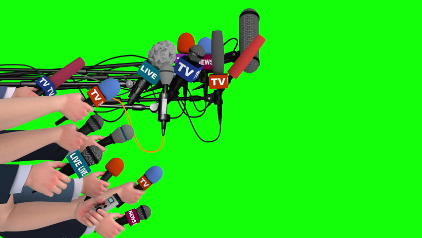Boom pole microphones and hands with mics on green screen, side view, 3D #18104881