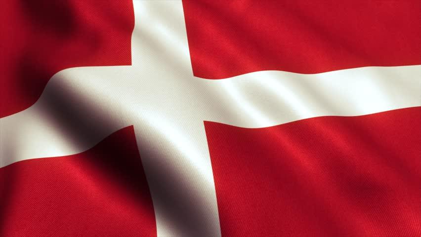 Denmark Flag. Seamless Looping Animation. 4K High Definition Video