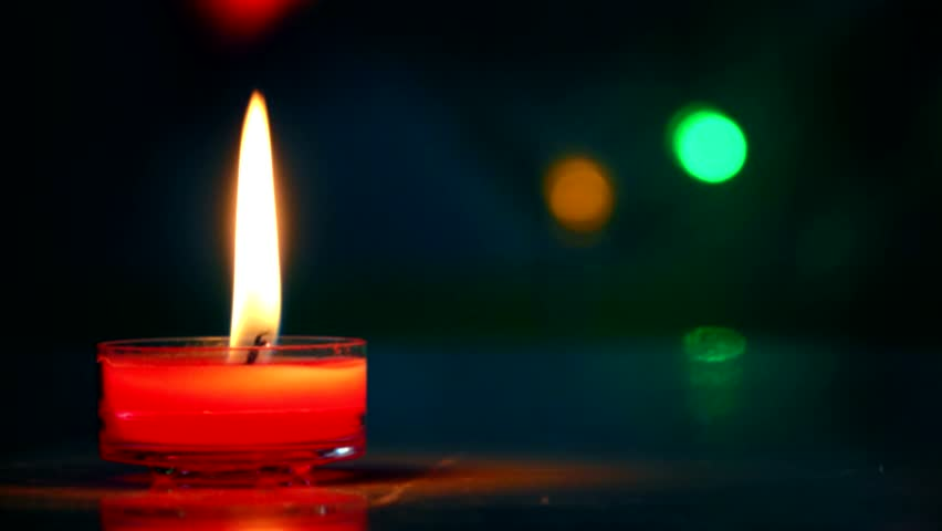 Red Christmas Candles Flicker With Lights Stock Footage