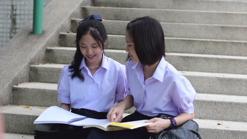 Cute Cheerful Asian Thai High Schoolgirls Student Couple -5155