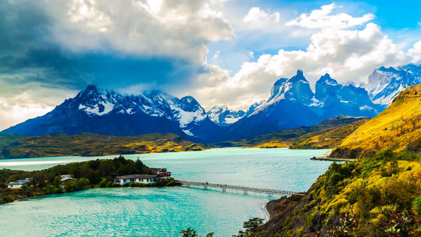 Time lapse of rain clouds flowing over Cuernos del Paine at Lake Pehoe in Torres Del Paine National Park Chile