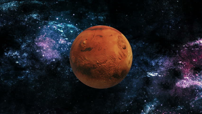 An orbiting shot of planet venus in space with a glowing planet mars rotating in space 4k stock video clip voltagebd Choice Image