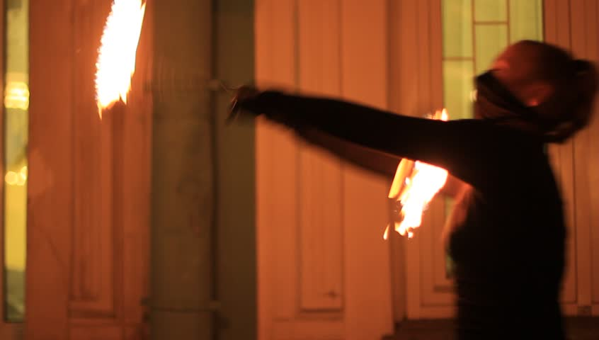 saint petersburg russia december 5 2015 girl dancing with fire on fire