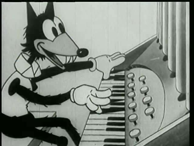 Wolf playing organ