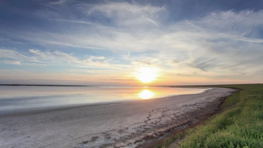 Sunset in the steppe near the salt lake Lopuhovatoe, Rostov region, Russia, (Time Lapse) Full HD    Shutterstock HD Video #18306271