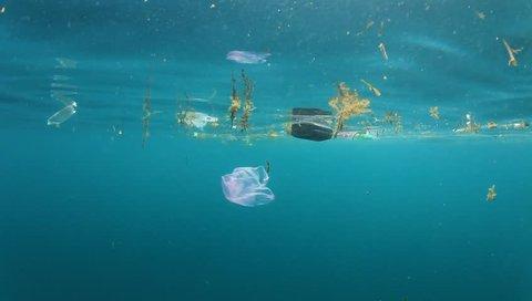 Plastic bags pollution in ocean