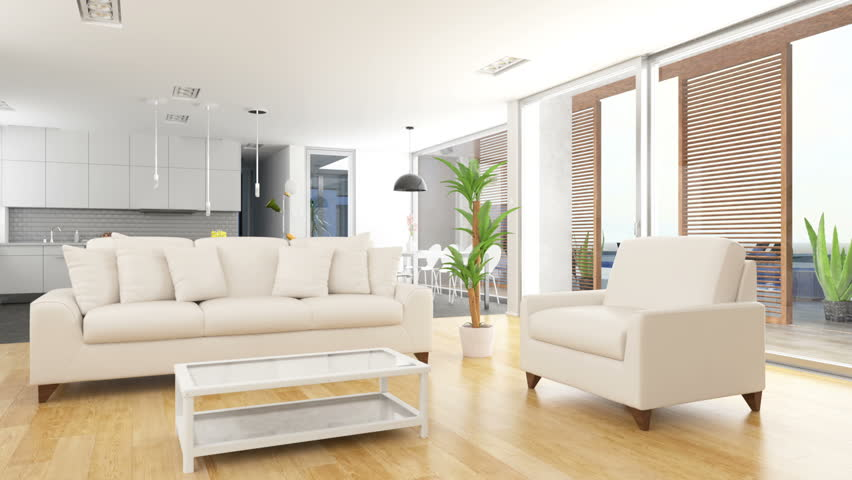 Livingroom house interior with outdoor pool | Shutterstock HD Video #18326341