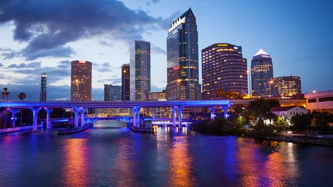 Downtown Tampa, Florida Day to Night City Skyline Time Lapse - Tampa FL Cityscape  (logos and faces blurred for commercial use)